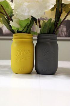 Painted Mason Jars, Grey and Yellow Painted Mason Jars, Perfect for baby…