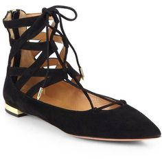 Aquazzura Belgravia Suede Point-Toe Lace-Up Flats ($695) ❤ liked on Polyvore featuring shoes, flats, apparel & accessories, metallic pointed toe flats, pointy-toe flats, pointy toe flat shoes, suede flats e aquazzura shoes
