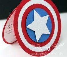 Captain America Invitations Set of 10 Custom by TwilightFairyDust, $33.00