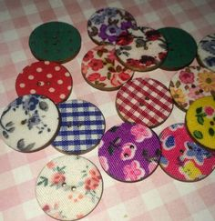 Fabric covered wooden buttons Like Buttons, come join our Facebook group Button Button Who's Got The Button https://www.facebook.com/groups/whosgotbuttons/