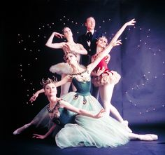 "New York City Ballet - Studio photo of Violette Verdy (front), Mimi Paul (center), Patricia McBride in red, George Balanchine and Suzanne Farrell in white, in ""Jewels"", choreography by George Balanchine (New York)"