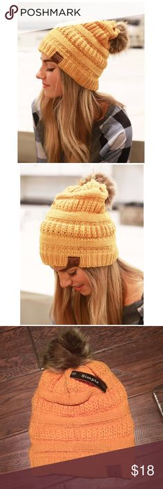 NWT Pom Slouch Knit Beanie Stay warm in style with this adorable beanie (in mustard). Accessories Hats