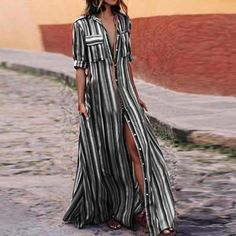 Brand New Bohemian Summer Striped Long Maxi Print Dress Casual Loose Shirt Print Chiffon Dresses Half Sleeve Dresses, Maxi Dress With Sleeves, Half Sleeves, Striped Maxi Dresses, Casual Dresses, Fashion Dresses, Chiffon Dresses, Fashion Top, Elegant Dresses