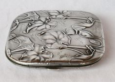 MAGNIFICENT-ART-NOUVEAU-GERMAN-800-SILVER inscribed with names. Leaves and trumpet flowers