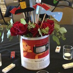 Centerpiece for Mad Men Party. See more photos at http://sparklerparties.com/party-gallery/mad-men-themed-dinner/