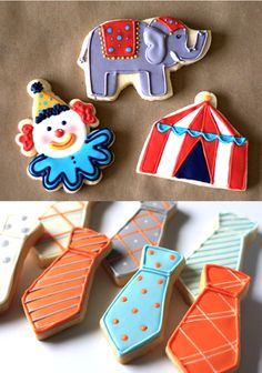 Cookies for a circus pinata, ties for a baby boy shower.