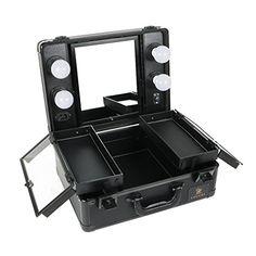 6cc9259b2 LUVODI Klein Beautycase mit Beleuchtung & Kosmetikspiegel Kosmetikkoffer  Make Up Pilotenkoffer Schminkkoffer 38 x 17 x