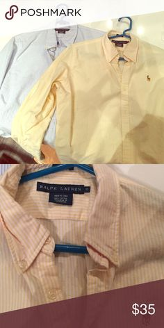 Polo RL Yellow slim fit button down Polo's classic button down in slim fit yellow stripe size 10 (fits like a size 8) also selling blue stripe version so willing to make a deal for both! Polo by Ralph Lauren Tops Button Down Shirts
