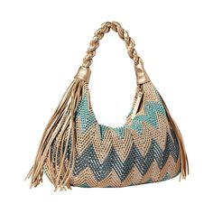 The beautiful woven, chevron pattern and double tassel detail gives this bag its chic appeal. The roomy interior makes it easier to carry your everyday necessities. $79.95