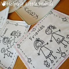 Fabric Postcards, fun idea for grandkids to draw on fabric with markers