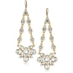 A.B.S. By Allen Schwartz Women's Crystal Chandelier Earrings - Size 0 (£27) ❤ liked on Polyvore featuring jewelry, earrings, no color, chandelier jewelry, gold tone earrings, crystal earrings, crystal stone jewelry and gold tone chandelier earrings