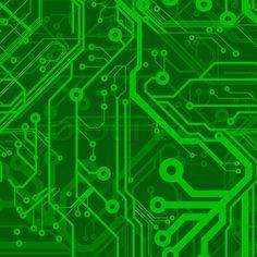 Green Seamless Printed Circuit Board Pattern stock vector