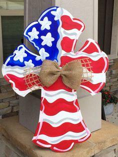 Wooden Cross Door Hanger Patriotic Door Hanger American Flag Americana Door Hanger Craft