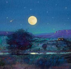 """SUMMER MOON, NEW MEXICO by Tom Perkinson 7"""" x 7"""" watercolor, mixed media Manitou Galleries"""