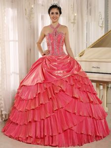 Halter Watermelon Pleating Quinceanera Dress with Beaded Bodice - Quinceanera 100