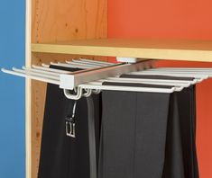 Hanger system combined with pull out unit Practical option for managing up to 20 pairs of trousers Especially suited to narrow and spaces as just 68cm wide.  Pull out extends from 51cm to 82cm. Can be installed under shelves Loops to hold belts, ties, scarves