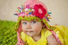 Infant Girl Hat Girls Ear Flap Hat with Flower Pink Crochet