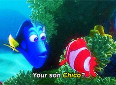 I love finding nemo and all the names dory uses for him! Chico, Fabio, etc. haha