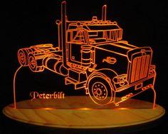 Semi Peterbilt Truck Acrylic Lighted Edge Lit by ValleyDesignsND, $69.50