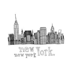 New York, New York 5x5 Print of Original Pen and Ink Drawing ❤ liked on Polyvore featuring home, home decor, wall art, new york home decor, new york wall art, ink drawing and ny wall art