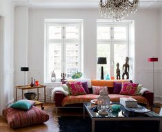 love this living room,the colors and floor pillows
