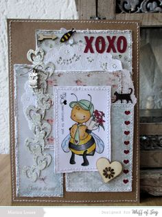 A card made with dielights and a lovely bee image from the Whiff of Joy January 2014 release.
