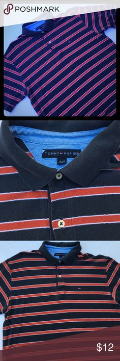 EUC Tommy Hilfiger Men's Polo Shirt Sz XL Navy w/Red & White Stripes. Great Condition, no rips, holes or stains. Slight fading from washing. Please feel free to ask questions... Tommy Hilfiger Shirts Polos