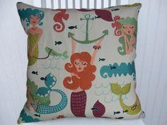 Mermaid Pillow Cover 18x18 or 20x20 or 22x22 Decorative Throw Pillow  Accent Pillow, Beach Pillow Summer House Pillow