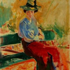 """the-barnes-art-collection: """"Figure on Bench by Alfred Henry Maurer, The Barnes Foundation Barnes Foundation (Merion), Gallery, Medium: Oil on canvas"""" Canvas Paper, Oil On Canvas, Canvas Prints, Barnes Foundation, Francis Picabia, Georges Braque, European Paintings, Modern Artists, Pablo Picasso"""