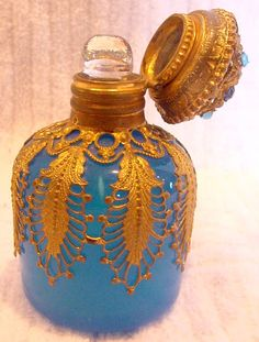 French Blue Opaline Glass Perfume Bottle w Jeweled Stopped Gilded Ormolu c 1880