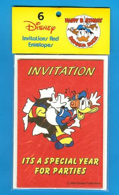 VINTAGE DISNEY DONALD DUCK PARTY INVITATIONS - invites. Pack of 6