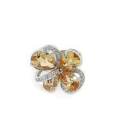 Look what I found on #zulily! Champagne & White Flower Cocktail Ring #zulilyfinds