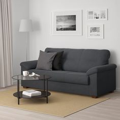IKEA - KNISLINGE, Sofa, Samsta dark gray, The high back provides good support for your neck. Durable, easy care microfiber cover with a soft suede feel. High-resilience foam and polyester in the seat cushion for great sitting comfort. Living Room Furniture, Home Furniture, Modern Furniture, Office Furniture, Sofas, Ikea Us, Canapé Design, Ikea Family, Gray Bedroom