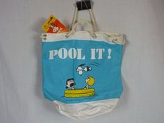 Vintage NOS Snoopy Peanuts Pool It Drawstring Bag Orig. Tags. Butterfly Original