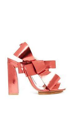 Calf leather bow heel by DELPOZO for Preorder on Moda Operandi