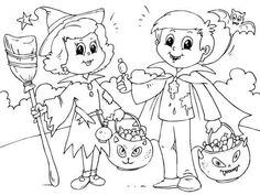 Trick or Treat Coloring Pages Printable. Print a cute Halloween and Trick or Treat coloring pages collection here. Free Halloween Coloring Pages, Nativity Coloring Pages, Cartoon Coloring Pages, Printable Coloring Pages, Coloring Pages For Kids, Coloring Books, Free Coloring, Halloween Trick Or Treat, Halloween Night