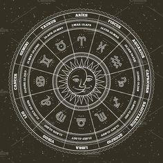 0ba593f86 Astrology symbols. by painterr on @creativemarket Gemini Symbol,  Sagittarius,