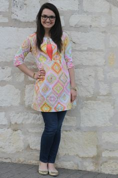 Wearing Handmade-- Schoolhouse Tunic pattern by Sew Liberated//Fabric by Michael Miller