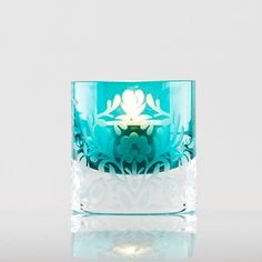 Dusk Chunky Floral Tealight Holder - Turquoise