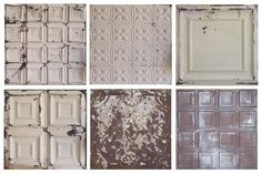 Vintage Tin Tiles from the American Barn Company - ceiling Cozinha Shabby Chic, Shabby Chic Kitchen, Shabby Chic Decor, Tin Tile Backsplash, Tin Tiles, Backsplash Ideas, Wall Tiles, American Barn, Vintage Tile