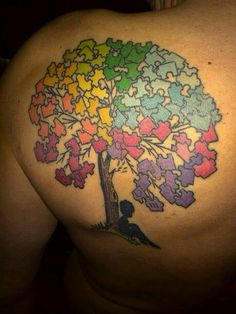 "One of my fellow autism fathers Joshua got this autism awareness tattoo in honor of his son with #Autism. He said ""Pieces of an impossible puzzle, unimaginable images, files, folders, infinite objects, skylines, sunrises, sunsets, passion, love , tears, frustration, happy, autism My World My Son."" Joshua this is Amazing ✔️"