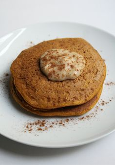 Ultra-Fluffy Vanilla Pumpkin Chickpea Pancakes. Packed with real plant-based protein! Gluten-free and vegan.