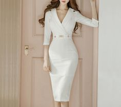 Product Name Surplice Plain Bodycon Dress Brand Name Chicokay SKU Package Included Dress Silhouette sheath Season winter,autumn Occasion date,Daily Supplementary matters The fabric is slightly elastic.All dimensions are measured manual Elegant Dresses, Sexy Dresses, Fashion Dresses, Dresses For Work, Midi Dresses, Formal Dresses, Wedding Dresses, Casual Dresses, Classic Dresses