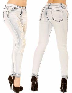 Jeans slim déchiré délavé & strass bleu ciel - bestyle29.com