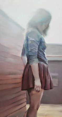"""La Luz"" - Susana Ragel Nieto (Spanish, b. 1981), oil on linen, 2015 {figurative art female standing woman obscured by light cropped painting} susanaragel.com"