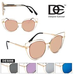 Cat Eye Sunglasses by DE™ Designer Eyewear - Style Cat Eye Sunglasses, Mirrored Sunglasses, Sunglasses Women, Wholesale Sunglasses, California, Eyewear, Womens Fashion, Color, Designer