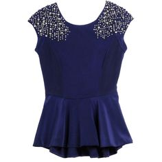 Rebecca Taylor Beaded Crepe Peplum Top ($395) ❤ liked on Polyvore