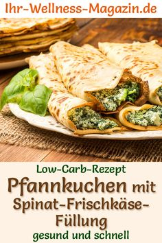 Low-carb pancakes with spinach and cream cheese filling - hearty pancake recipe - Hearty pancakes with spinach and cream cheese filling: Healthy pancakes with milk, egg and almond f - Pancake Healthy, Low Carb Recipes, Healthy Recipes, Low Carb Pancakes, Low Carb Lunch, Cream Cheese Filling, Healthy Eating Tips, Relleno, Meals
