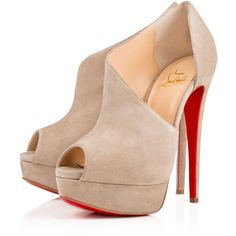 Christian Louboutin Verita ($1,095) ❤ liked on Polyvore featuring shoes, pumps, heels, louboutin, christian louboutin, pierre, christian louboutin shoes, peep toe platform shoes, suede shoes and peep-toe pumps