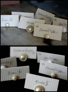 This is a really cute idea!  Have clip-on earrings as place card holders!  And they would be cheap to buy if you hit up a lot of thrift shops!